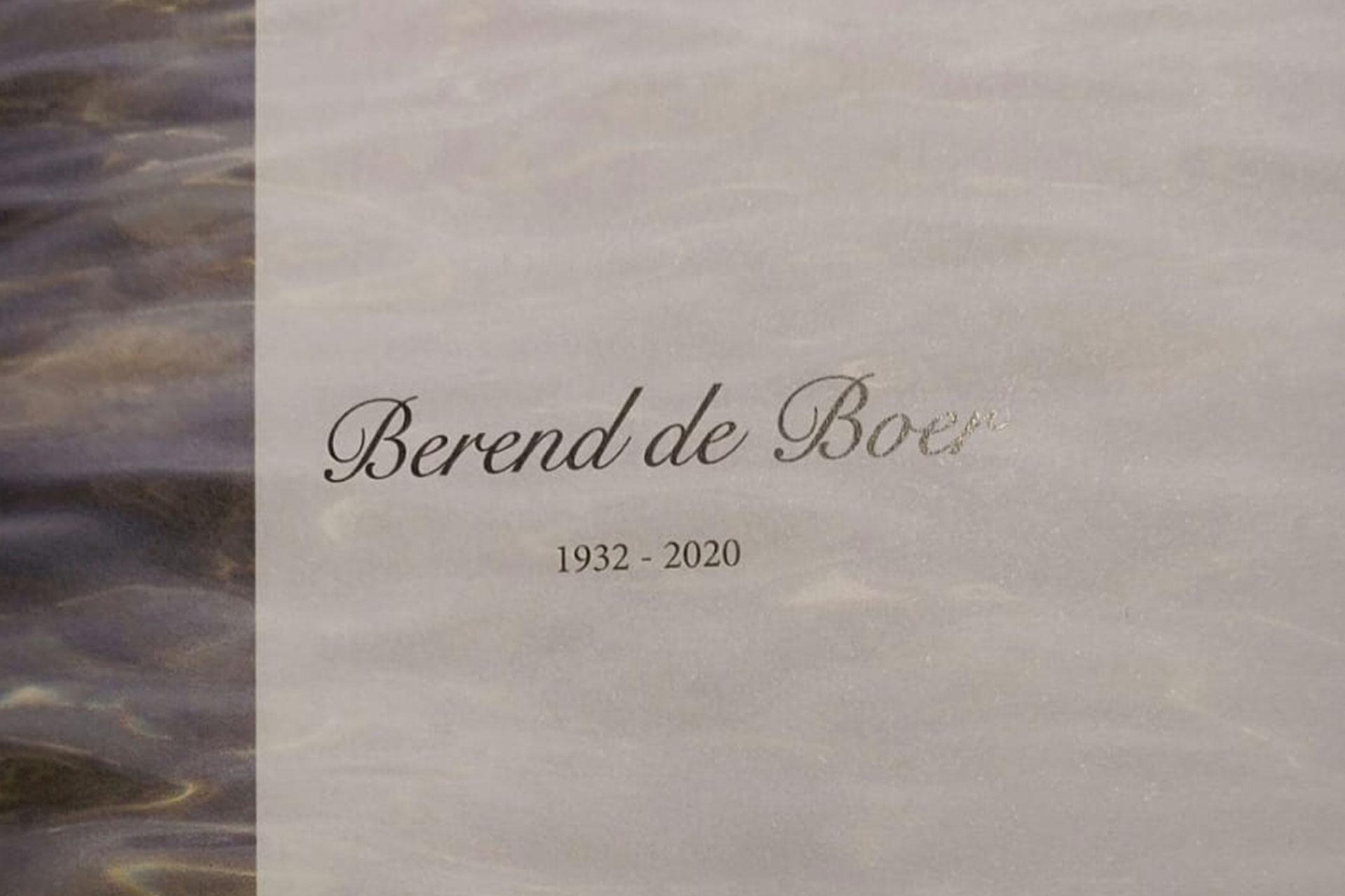 Berend de Boer overleden