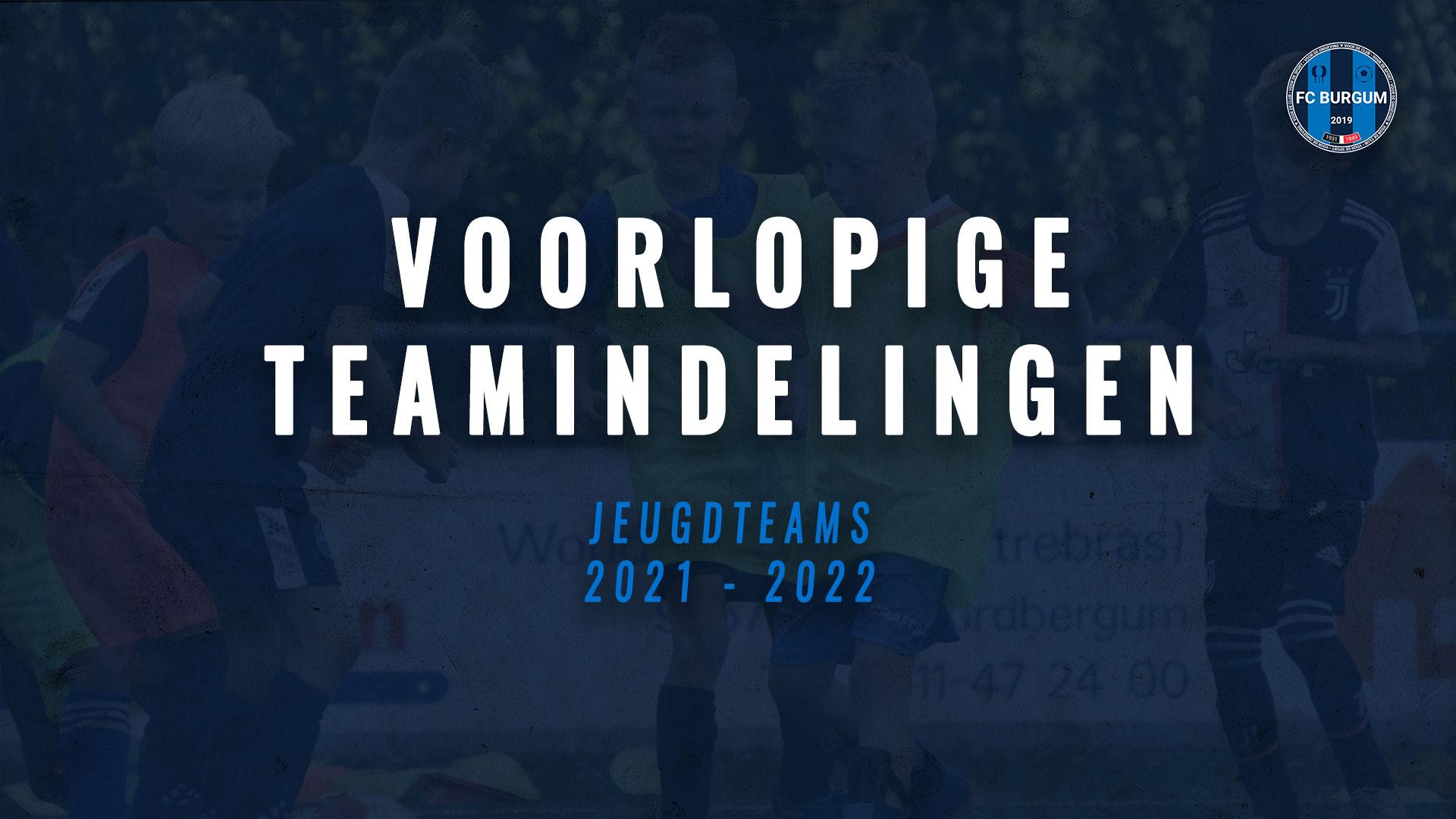 Voorlopige teamindelingen jeugdteams 2021-2022