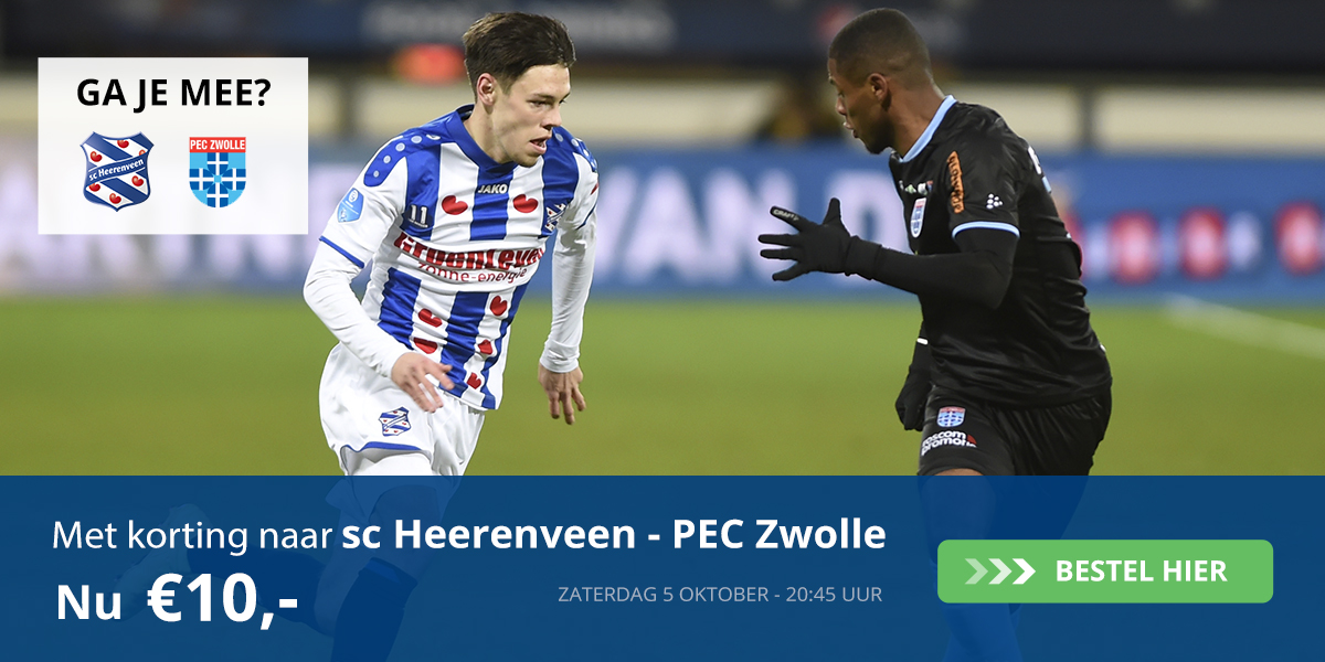 Wil jij met FC Burgum naar SC Heerenveen-PEC Zwolle op 5 oktober?